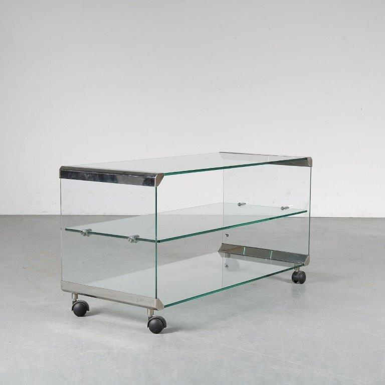 m24811 1970s trolley, chrome plated aluminium with glass Gallotti & Radic Italy