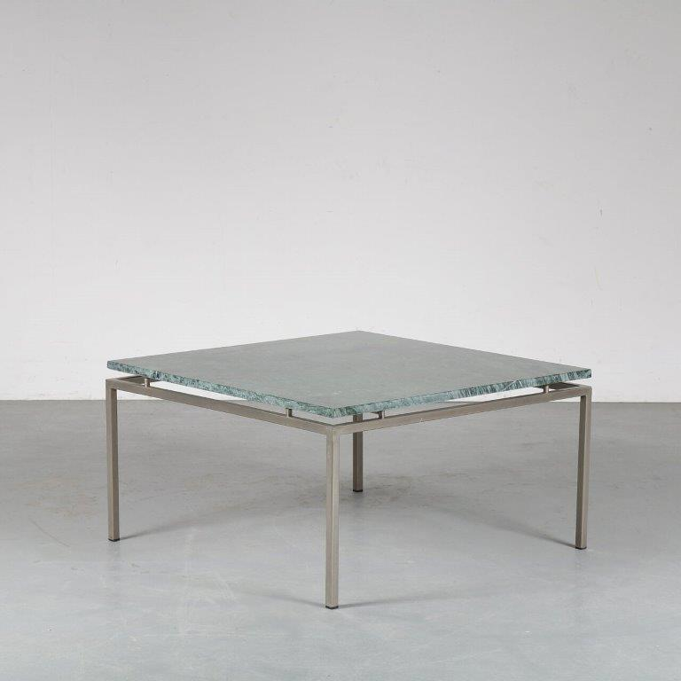 m24938 1960s Square coffee table on chrome metal base with green marble top