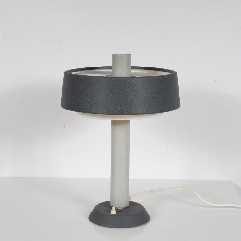 L4580 1960s Grey with white metal table lamp Evolux Netherlands