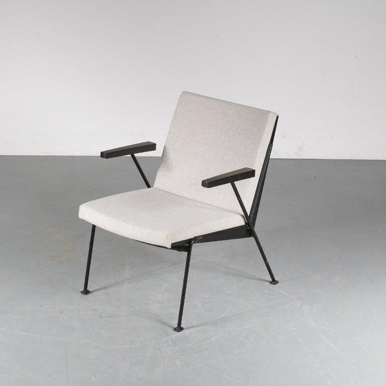 m24770 1950s Easy chair on black metal frame with new upholstery model 'l Oase Wim Rietveld Gispen Netherlands
