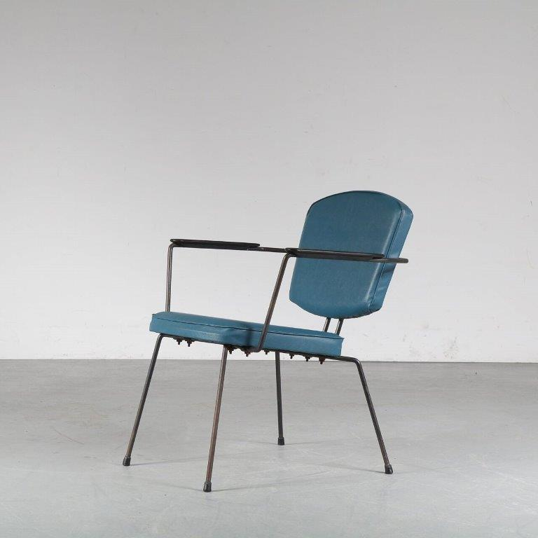 m24908 1950s easy chair on black metal base with blue skai upholstery Rudoff Wolf Elsrijk NL