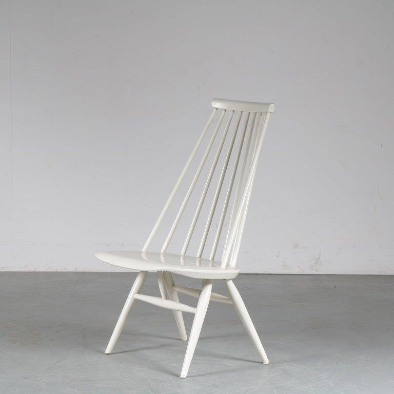 m24950 1950s White painted spokeback easy chair model Madamoiselle Ilmari Tapiovaara Edsby Sweden