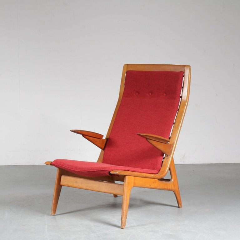 m23522 1950s Unique Dutch easy chair with new upholstery De Ster Gelderland Netherlands
