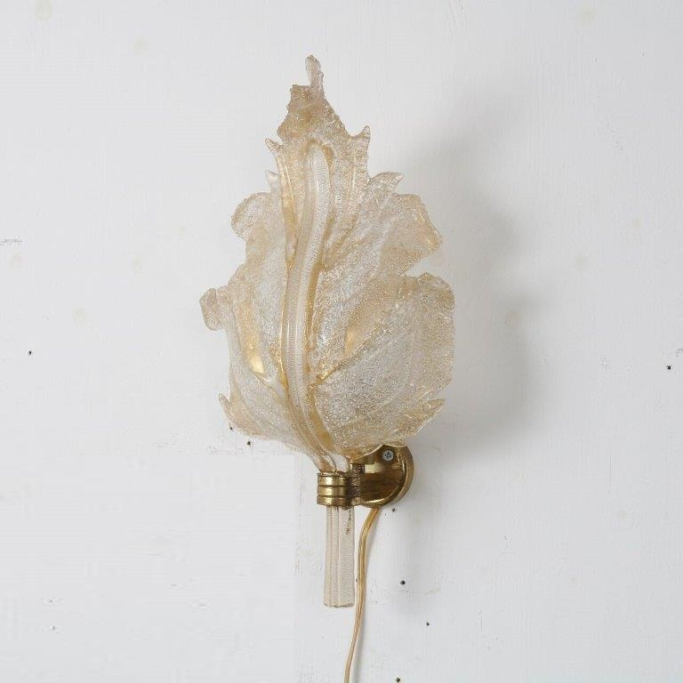 L4602 1950s brass wall lamp with murano glass shade Barovier & Tosso Barovier & Tosso Italy