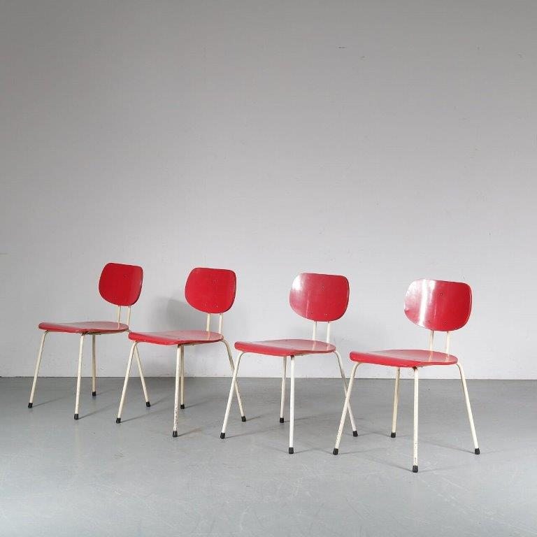 m24948 1950s Set of 4 dining chairs model CT2, white metal base with red formica seat and back Willy vd Meeren Tubax Belgium