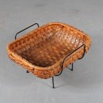 m24944 1950s Rattan basket on black metal base Netherlands