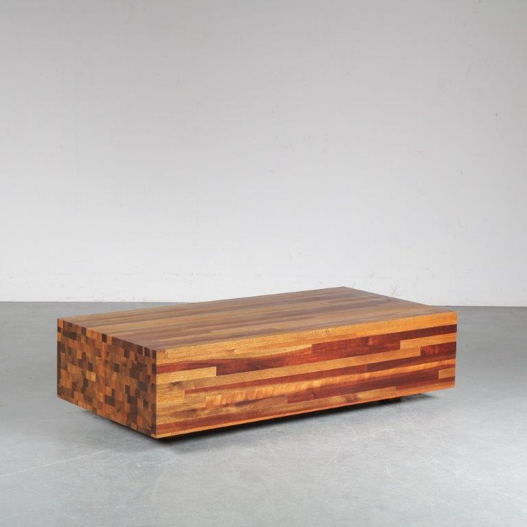 m24753 1990s Wooden rectangular coffee table with patchwork wood Henk Vos Linteloo Netherlands