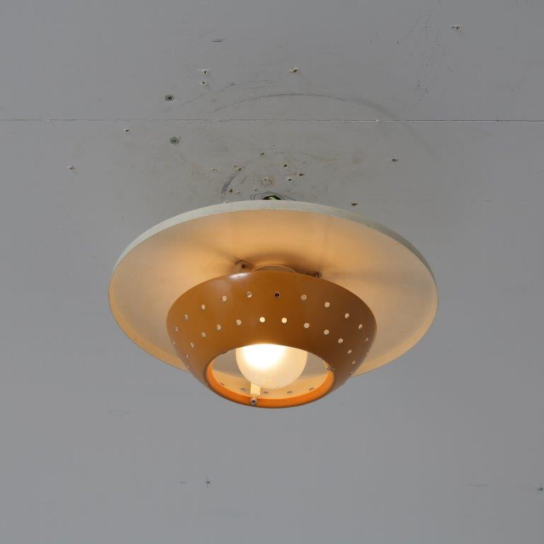 L4672 1950s Small white with ocher yellow metal ceiling lamp Louis Kalff Philips Netherlands