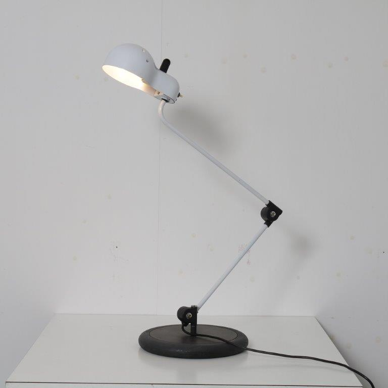 L4671 1970s Black with white metal desk lamp model Topo Joe Colombo Stilnovo Italy