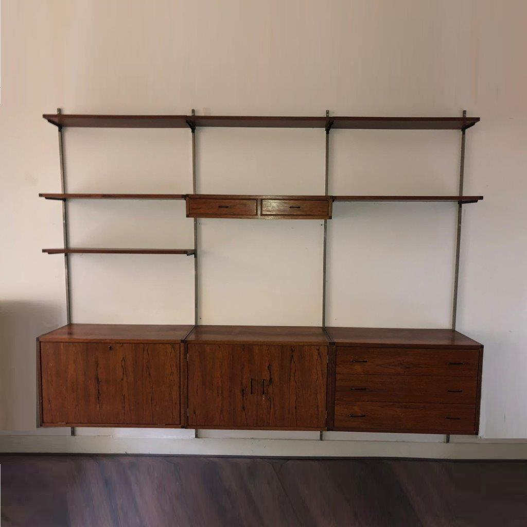 m24975 1960s 3-Units wide rosewooden wall mounted system cabinet Tetex Netherlands (1)