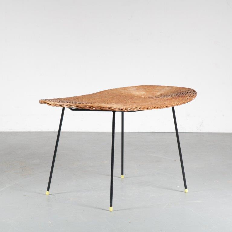 m24919 1950s unique oval coffee table on black metal base with wicker top
