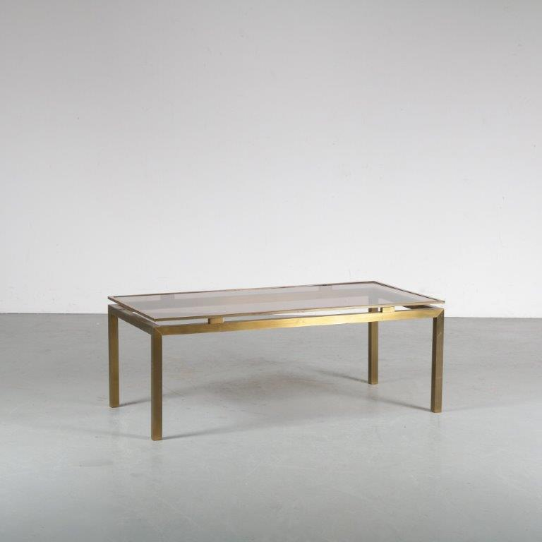 m24607 1970s Luxurious brass coffee table with glass top Guy Lefevre Maison Jansen France