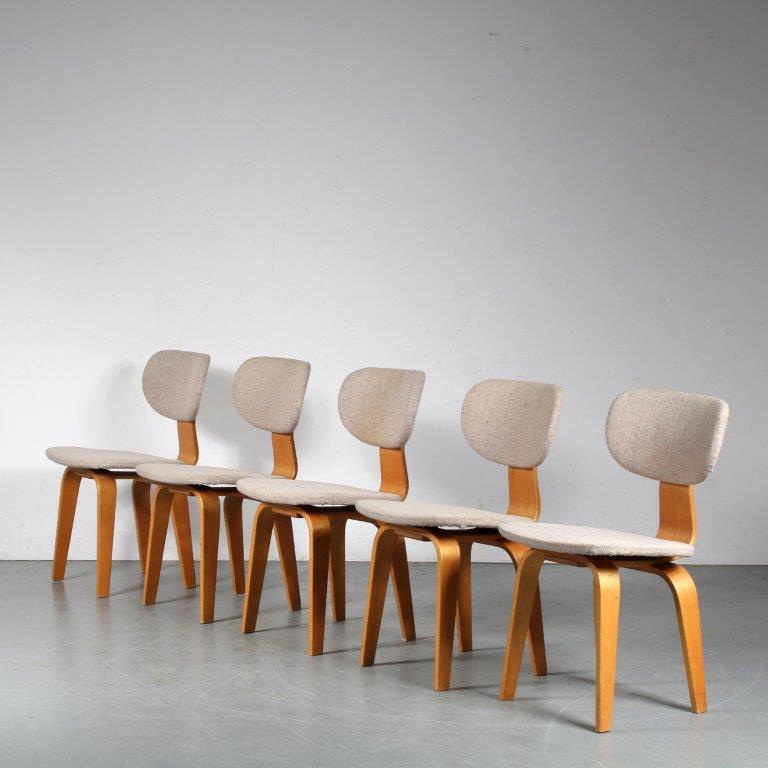 m25102 1950s set of 5 dining chairs birch with grey upholstery model: SB03 Braakman Pastoe NL