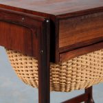 m25146 1960s Rosewooden Danish sewing table with rattan basket BR Gelsted / Denmark