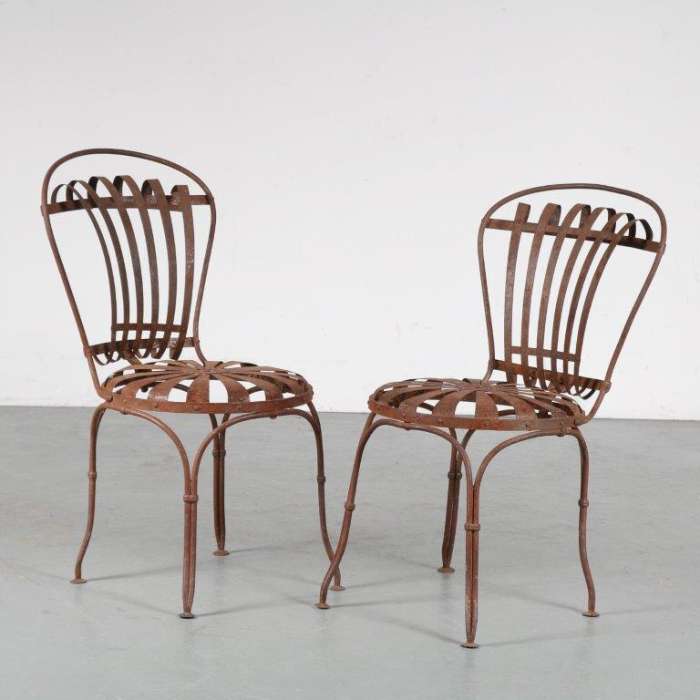 m25080 1950s Pair of garden chairs by Francois Carre, France