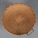 m25092 1950s round ratan magazine table on black metal base NL