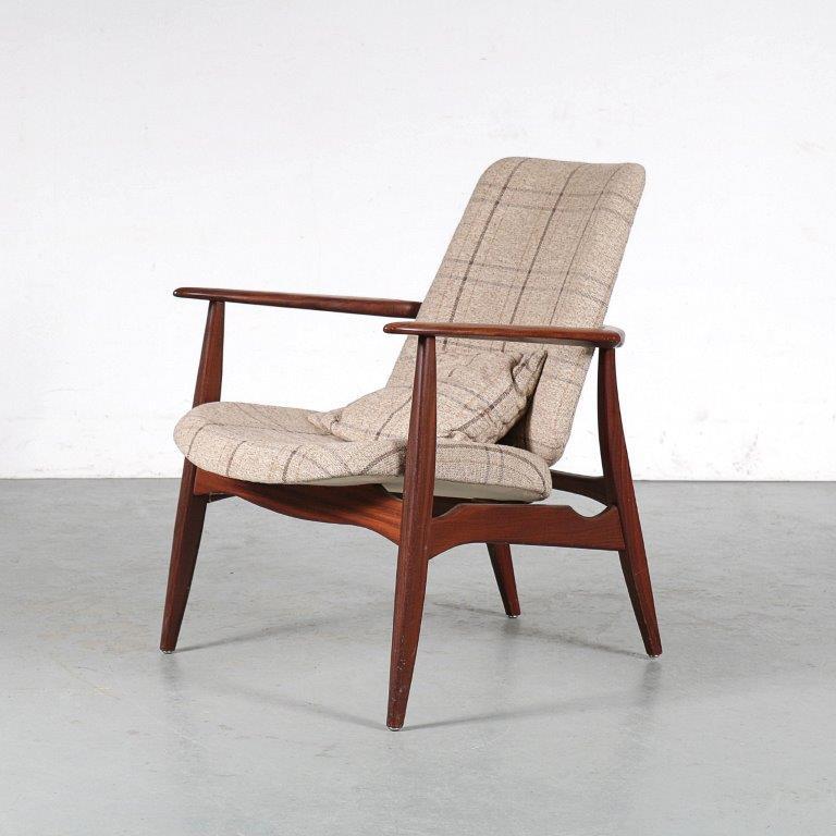 m25095 1950s teak easy chair with new upholstery Louis van Teefelen WeBe NL