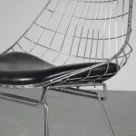 m25116 1950s set of 4 chrome wire dining chairs with black leather cushion model: SM05 Cees Braakman Pastoe NL