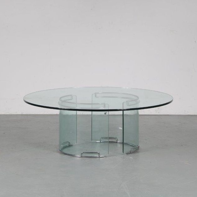 1970s Round Gallotti & Radice coffee table in chrome and glass, Italy