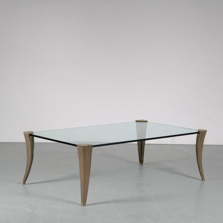 m25210 1970s Rectangular glass coffee table on brass legs Peter Ghyczy Ghyczy / Netherlands