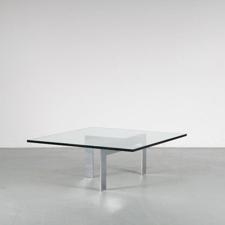 m24606 1960s Modern coffee table on heavy chrome base with thick glass top Attributed to Milo Baughman USA