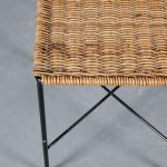 m25254 1950s Black metal with wicker stool in the style of Carl Auböck Austria