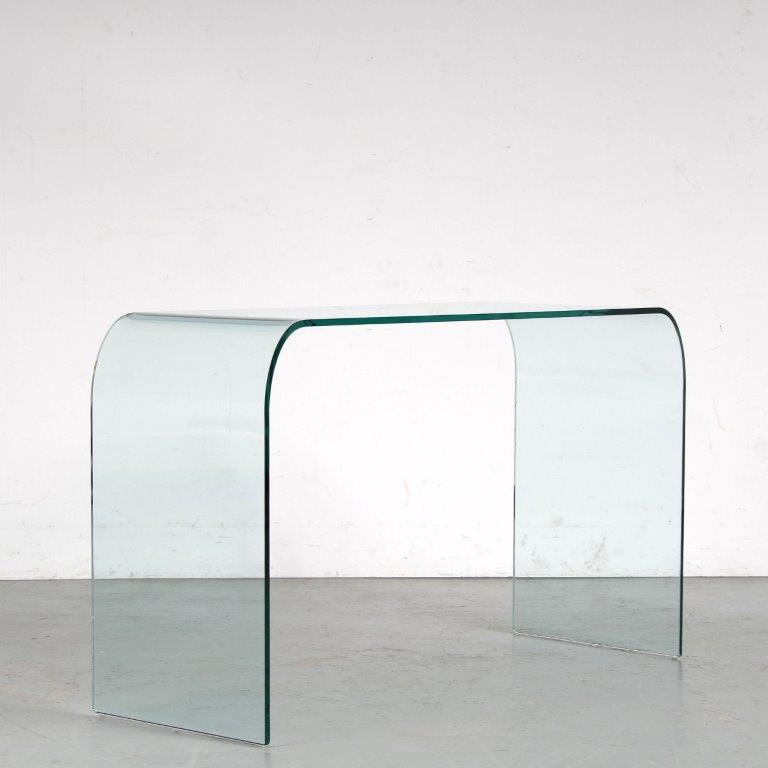 m25211 1970s Glass console table Angelo Cortesi Fiam / Italy