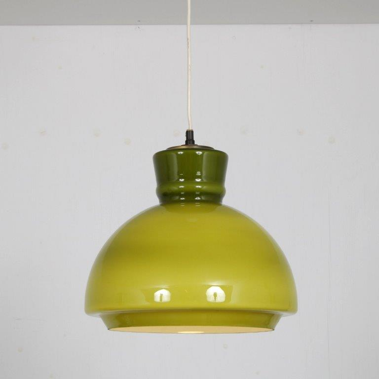 L4650 1960s green glass hanging lamp with brass details Sweden