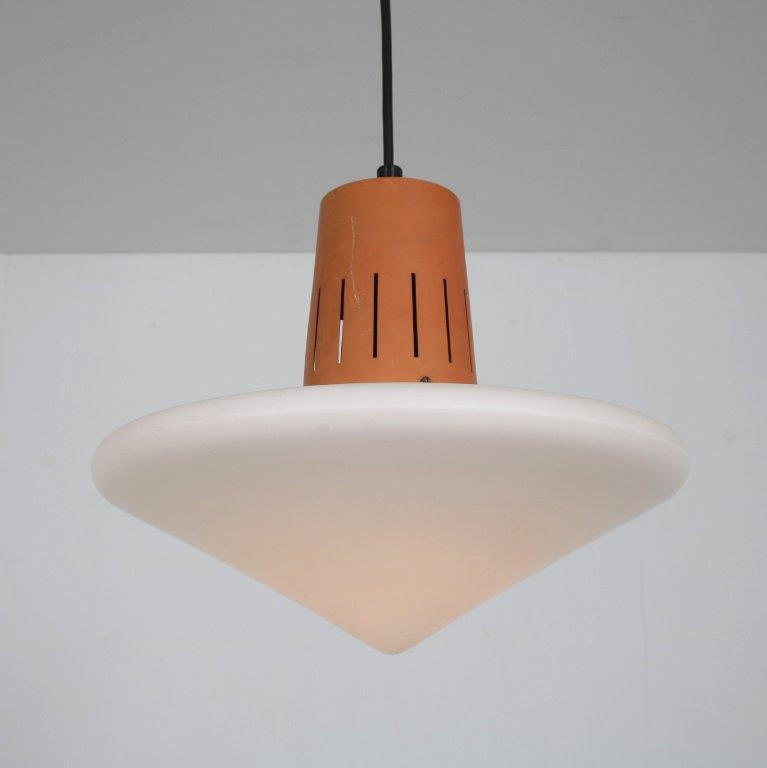 L4687 1950s Hanging lamp, white milk glass hood with metal terra coloured top Louis Kalff Philips / Netherlands
