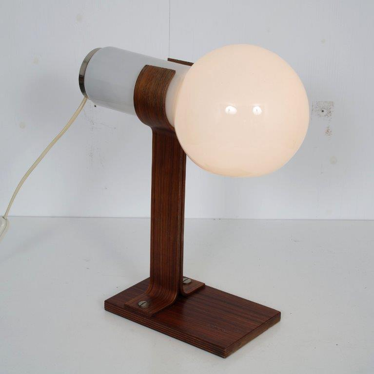 L4676 1960s Unique table lamp, plywooden base with white glass hood Temde Leuchten / Germany