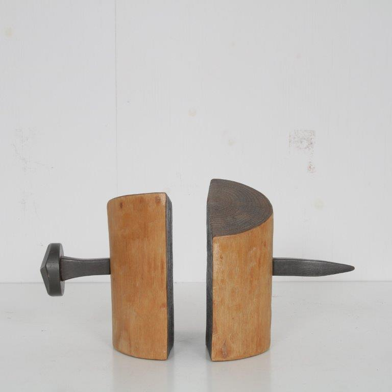 K3701 1950s set of 2 Brutalis book stands wood with a big nail