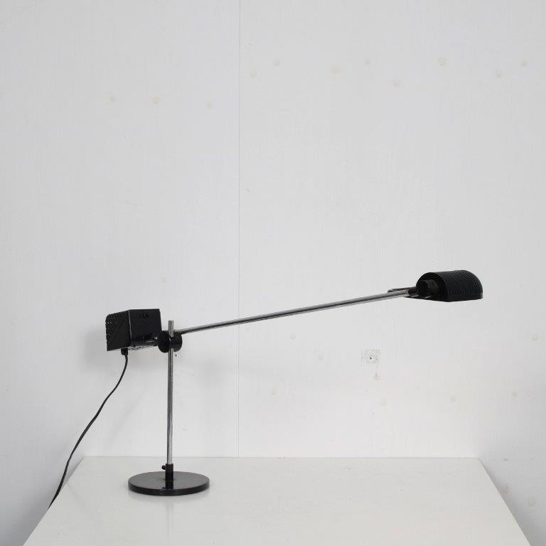 L4645 1970s chrome with black plastic desk lamp De Pas, D'Urbino Lomazzi Stilnovo Italy