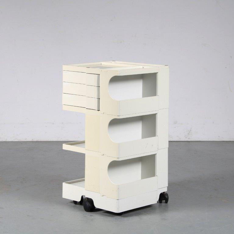 m25277 1970s White plastic bobby trolley Joe Colombo Biefferplast / Italy