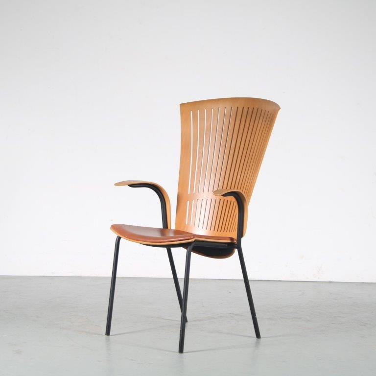 m25134 1980s Side chair on black metal base with plywooden shell Nanna Ditzel Fredericia / Denmark