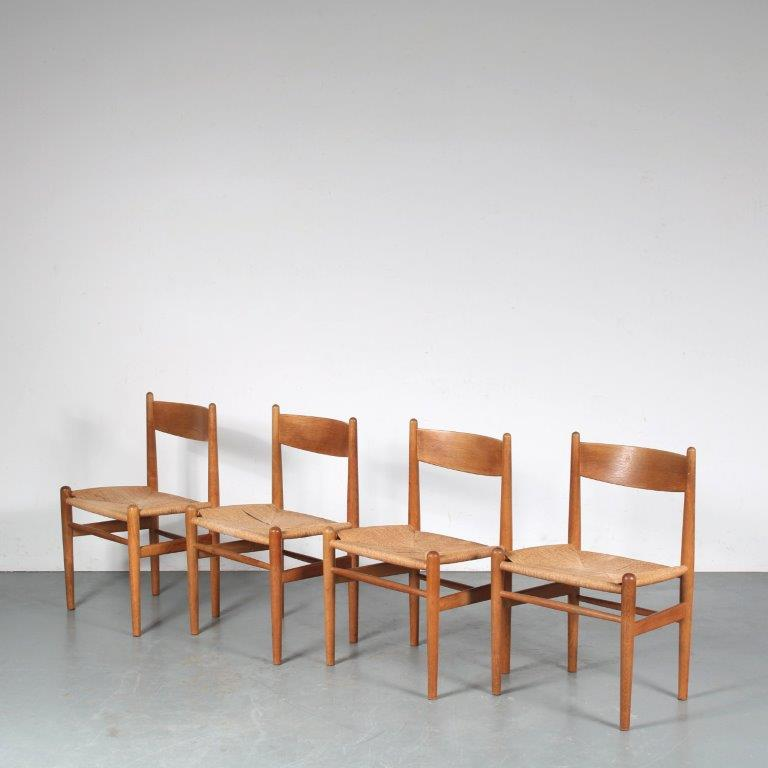 m25246 1950s Set of 4 CH36 teak wooden dining chairs with papercord seats Hans J. Wegner Carl Hansen / Denmark