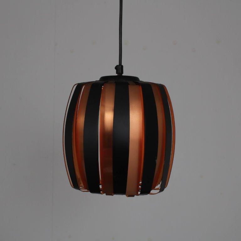 L4719 1960s Black with brass metal hanging lamp Werner Schou Coronell Elektro / Denmark