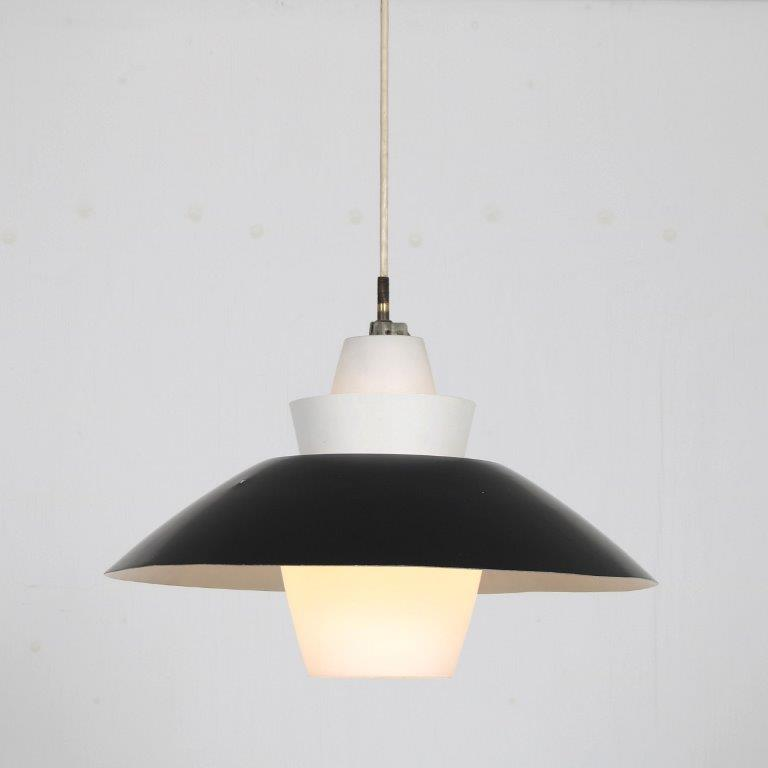 L4614 1950s Hanging lamp with milk glass and black metal shade Louis Kalff Philips / Netherlands