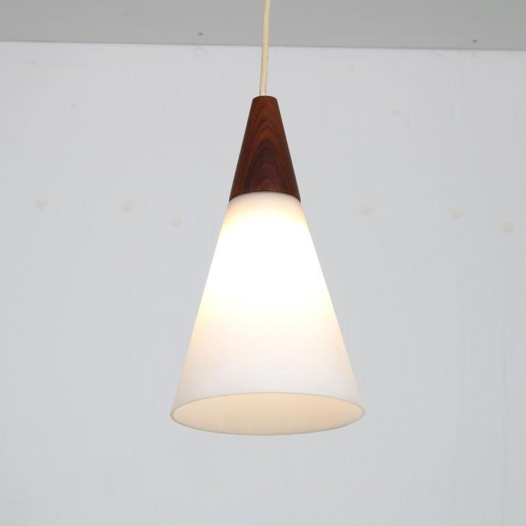 L4583 1950s Small hanging lamp in milk glass with teak details Luxus / Sweden