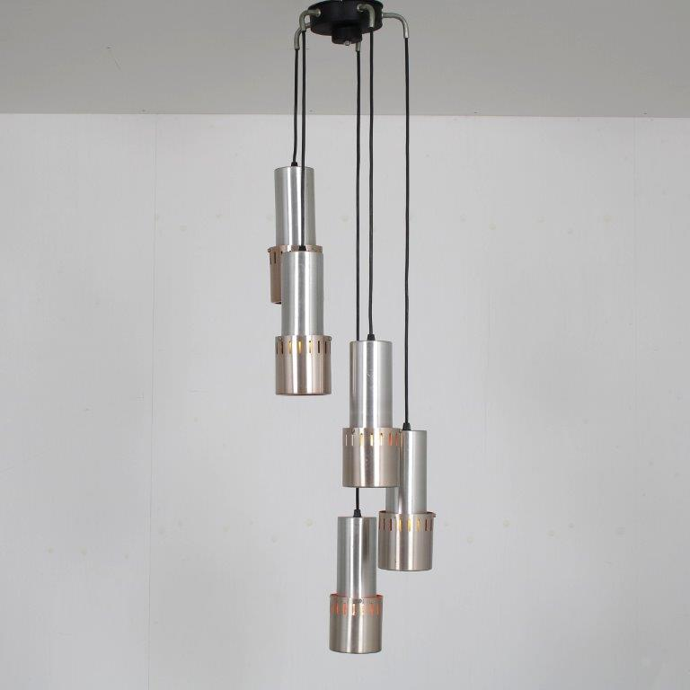 L4674 1960s Hanging lamp with five aluminium pipes, orange inside Netherlands