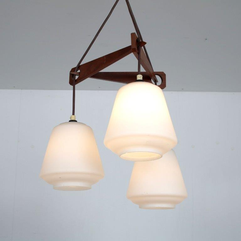 L4603 1950s Danish styled hanging lamp teak with three milk glass hoods Denmark