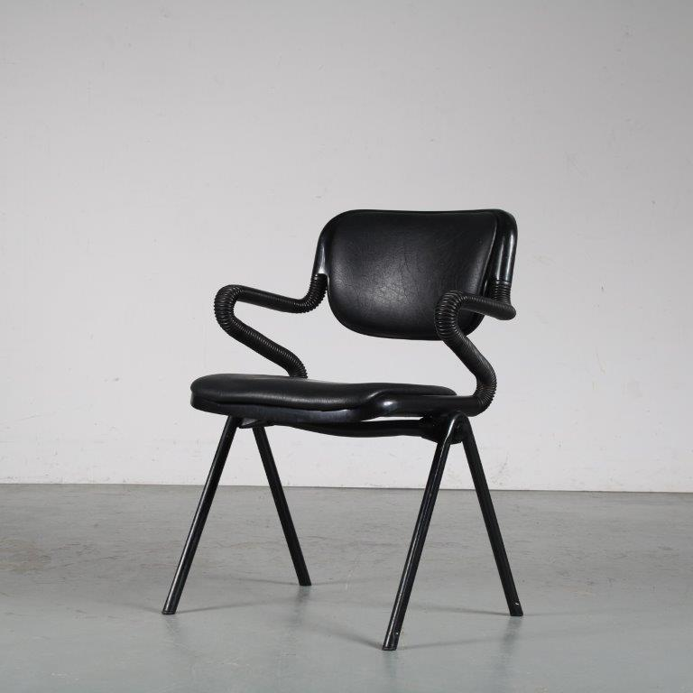 m25333 1980s Black metal with plastic side chair Emilio Ambasz & Giancarlo Piretti Castelli