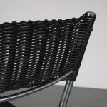 m25424-5 1960s Dining chair in chrome metal with black faux wicker Martin Visser Spectrum / Netherlands