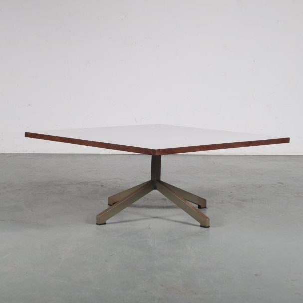 m24553 1960s Square coffee table on grey metal base with white laminated top Cornelis Zitman Pastoe / Netherlands