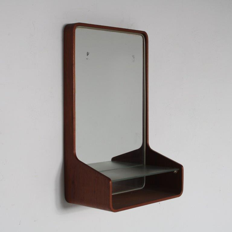 m24208 1950s Teak plywooden wall mounted mirror from the Euroika series Friso Kramer Auping / Netherlands