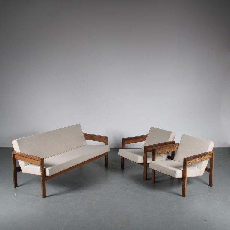 m25267 1950s Sofa set, 3-seater sofa with 2 easy chairs, Wengé wood with new upholstery Hein Stolle Spectrum / Netherlands