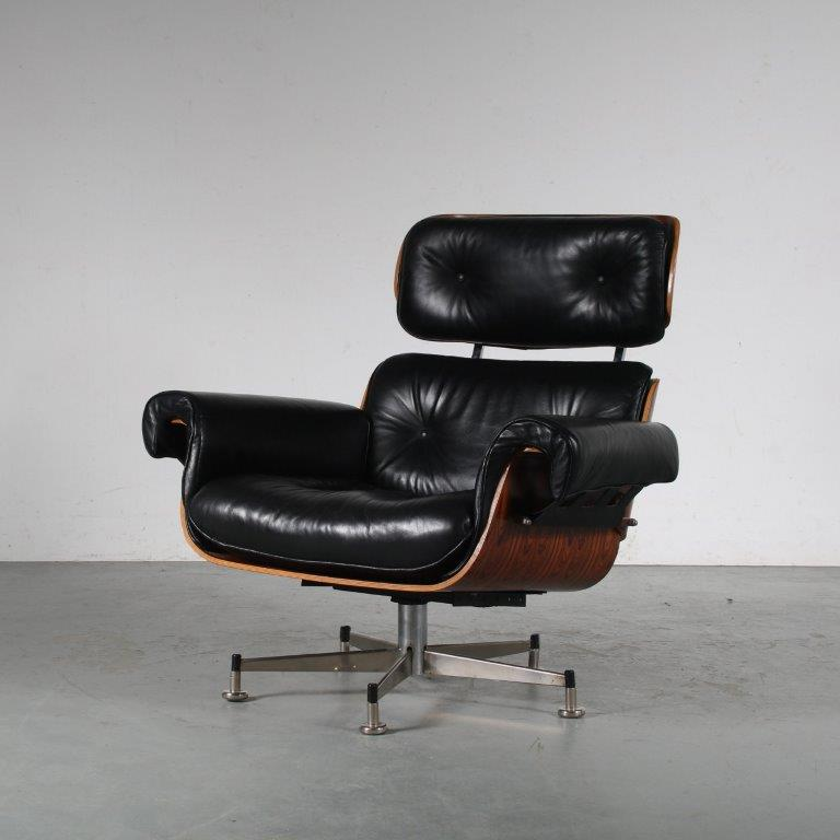 m25449 1960s lounge chair in eames style black leather upholstery Germany