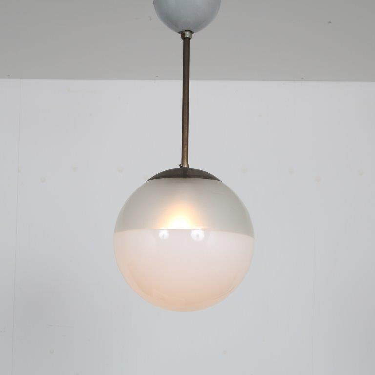 L4478 1930s Hanging lamp in chrome metal with milk glass and frosted ball Giso? / Netherland