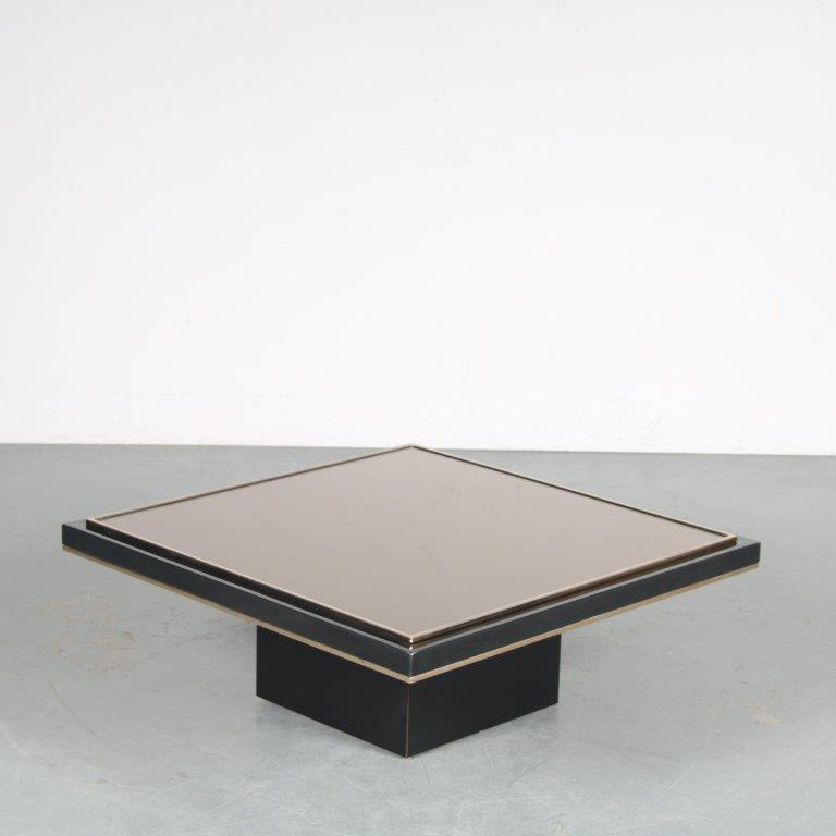 m25475 1980s black coffee table on thick black square base with small brass lining and black thick glass top big
