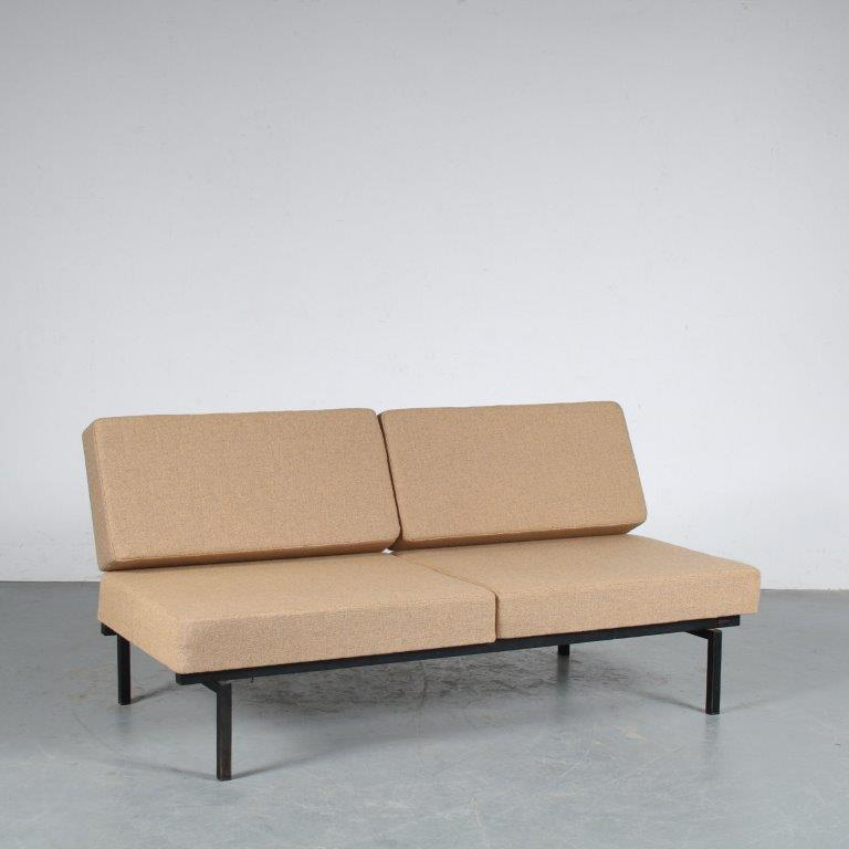 m20003 1950s Lovely styled small two seater sofa / sleeping bench on black metal frame with new upholstery Coen de Vries Devo / Netherlands
