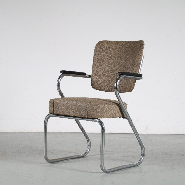 m25493 1950s Chrome pipe frame office chair with original upholstery Paul Schuitema Fana / Netherlands
